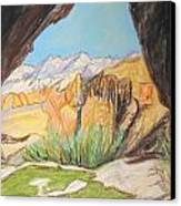 Desert View From The Cave Canvas Print by Esther Newman-Cohen