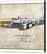 Detroit Miss P-51d Mustang - Map Background Canvas Print