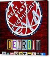 Detroit Pistons Basketball Vintage License Plate Art Canvas Print by Design Turnpike