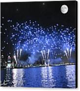 Detroit River Fireworks Canvas Print by Michael Rucker