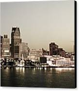 Detroit Skyline At Night Canvas Print by Levin Rodriguez