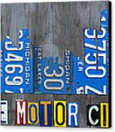 Detroit The Motor City Skyline License Plate Art On Gray Wood Boards  Canvas Print