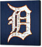 Detroit Tigers Baseball Old English D Logo License Plate Art Canvas Print