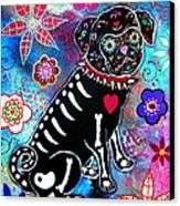 Dia De Los Muertos Pug Canvas Print by Pristine Cartera Turkus