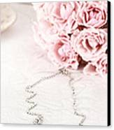 Diamond Necklace And Pink Roses Canvas Print