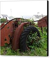 Dilapidated Farm Tractor At The Old Pierce Point Ranch In Foggy Point Reyes California 5d28120 Canvas Print by Wingsdomain Art and Photography