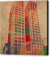 Dime Building Iconic Buildings Of Detroit Watercolor On Worn Canvas Series Number 1 Canvas Print by Design Turnpike