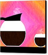 Diner Coffee Pot And Cup Sorbet Canvas Print by Andee Design