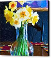 Dining With Daffodils Canvas Print by Jo-Anne Gazo-McKim