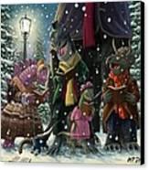 Dinosaur Carol Singers Canvas Print by Martin Davey