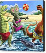 dinosaur fun playing Volleyball on a beach vacation Canvas Print