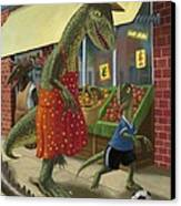 Dinosaur Mum Out Shopping With Son Canvas Print by Martin Davey