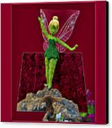 Disney Floral Tinker Bell 01 Canvas Print by Thomas Woolworth