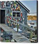 Dock House In Maine Canvas Print by Jon Glaser