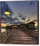 Dock Lights At Jekyll Island Canvas Print by Debra and Dave Vanderlaan