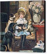 Doddy And Her Pets Canvas Print by Charles Trevor Grand