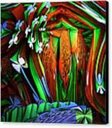 Dog Shrine With Flowers Canvas Print