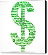Dollar Sign Canvas Print by Aged Pixel