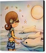 Dolphin Paradise Canvas Print by Karin Taylor