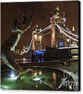 Dolphin Statue Tower Bridge Canvas Print by Donald Davis