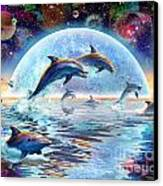 Dolphins By Moonlight Canvas Print by Adrian Chesterman