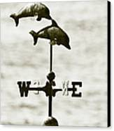Dolphins Weathervane In Sepia Canvas Print by Ben and Raisa Gertsberg