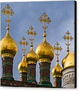 Domes Of The Church Of The Nativity Of Moscow Kremlin - Featured 3 Canvas Print by Alexander Senin