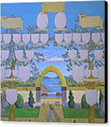 Double Family Tree Chart Mediterranean Garden Canvas Print