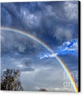 Double Rainbow Over Mountain Canvas Print by Thomas R Fletcher