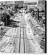 Down The Tracks - Downtown Miami - Black And White Canvas Print by Ian Monk