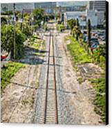 Down The Tracks - Downtown Miami Canvas Print by Ian Monk