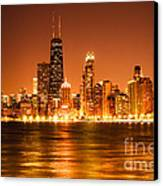 Downtown Chicago At Night With Chicago Skyline Canvas Print by Paul Velgos