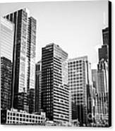 Downtown Chicago Buildings In Black And White Canvas Print