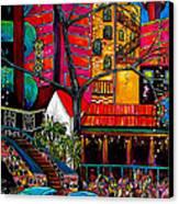 Downtown On The River Canvas Print by Patti Schermerhorn