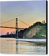 Downtown Vancouver And Lions Gate Bridge At Twilight Canvas Print by Eti Reid