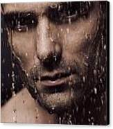 Dramatic Portrait Of Man Face With Water Pouring Over It Canvas Print