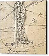 Drawing By Leonardo Da Vinci.. Flying Canvas Print