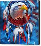 Dream Catcher - Eagle Red White Blue Canvas Print by Carol Cavalaris