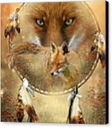 Dream Catcher- Spirit Of The Red Fox Canvas Print by Carol Cavalaris
