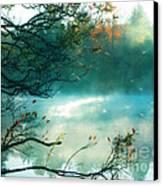 Dreamy Nature Aqua Teal Fog Pond Landscape Canvas Print by Kathy Fornal