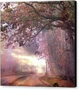 Dreamy Pink Nature Landscape - Surreal Foggy Scenic Drive Nature Tree Landscape  Canvas Print