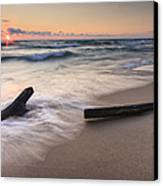 Driftwood On The Beach Canvas Print by Adam Romanowicz
