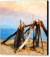 Driftwood Sculpture At Rincon Canvas Print by Ron Regalado
