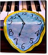 Dripping Clock On Piano Keys Canvas Print by Garry Gay