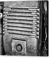 Drive In Movie Speaker In Black And White Canvas Print by Paul Ward