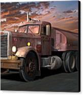 Duel Truck With Trailer Canvas Print by Stuart Swartz