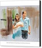 Duke And Duchess Of Cambridge With Their New Son Canvas Print