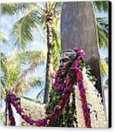 Duke Kahanamoku Covered In Leis Canvas Print by Brandon Tabiolo