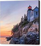 Dusk At Bass Harbor Light Canvas Print