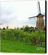 Dutch Landscape With Windmills Canvas Print by Carol Groenen